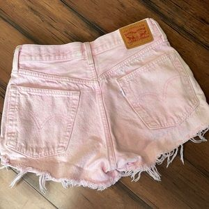 Levi's pink Jean shorts 501 style cut off shorts